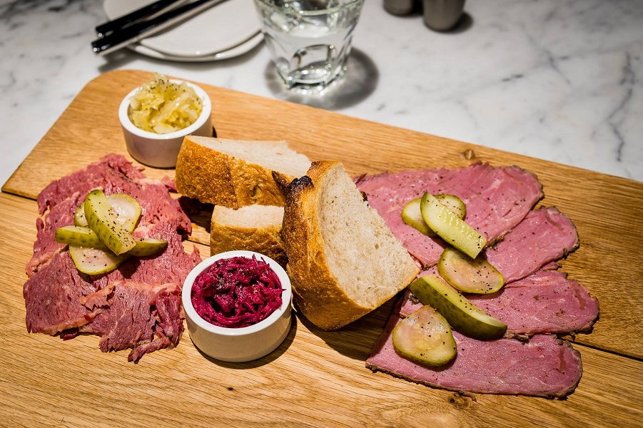 The Land Sharing Board menu, with salt beef, pastrami, wallies, sauerkaut, and crusty rye bread.