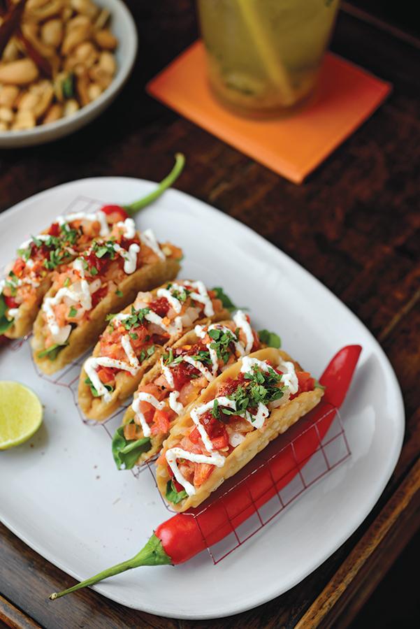Namsaah's salmon-tartare wonton tacos.