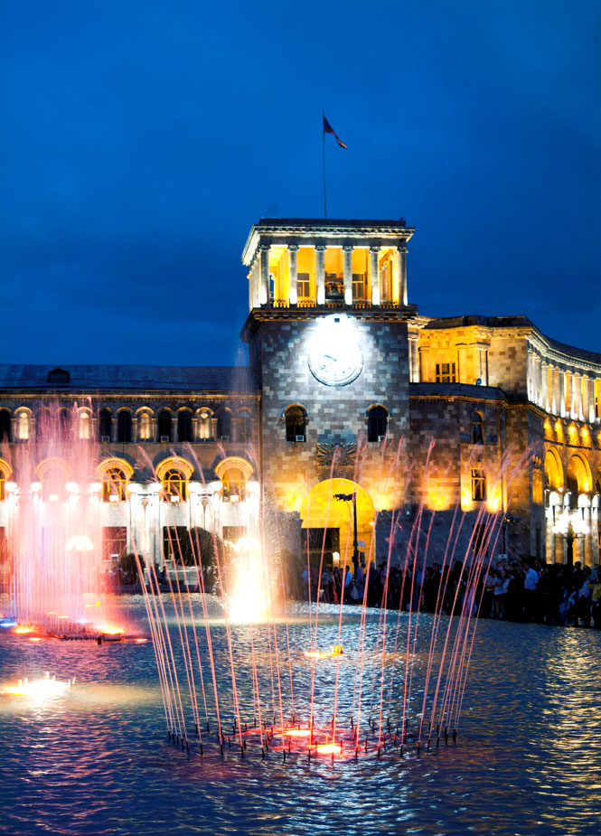 The nightly water fountain show outside the National Museum in Yerevan.
