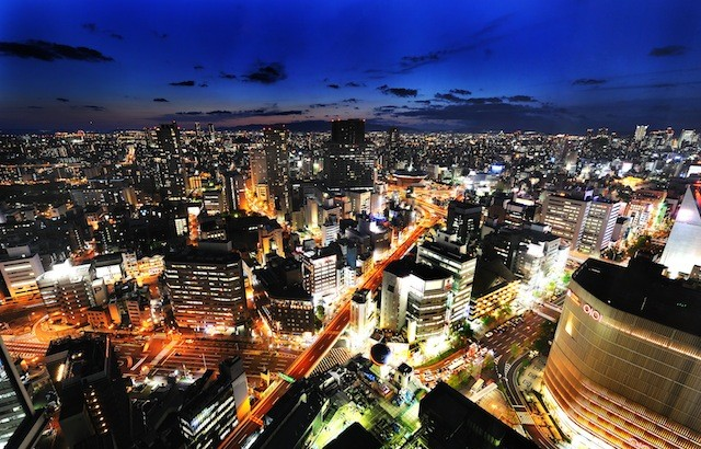 The night view from Swissôtel Nankai Osaka.