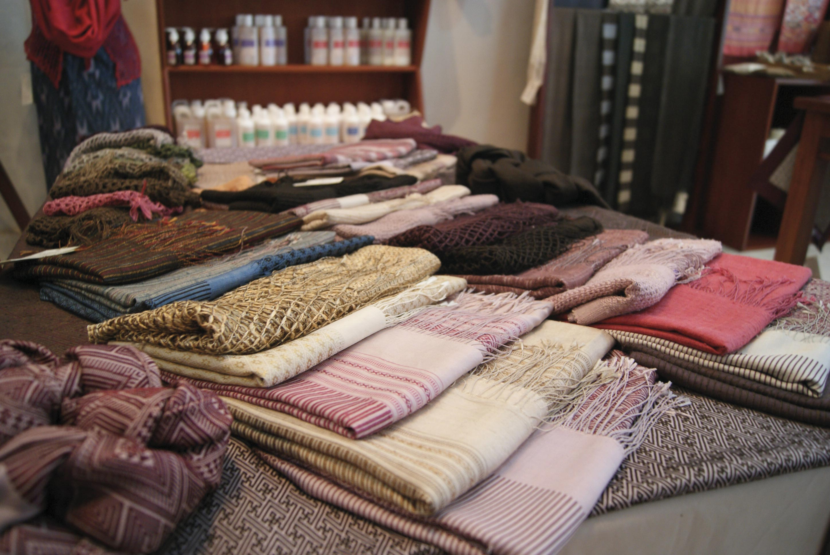 Ethically produced textiles at Mulberries.