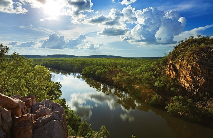 A view over the Katherine River as it flows out of the Nitmiluk gorge system near Cicada Lodge.