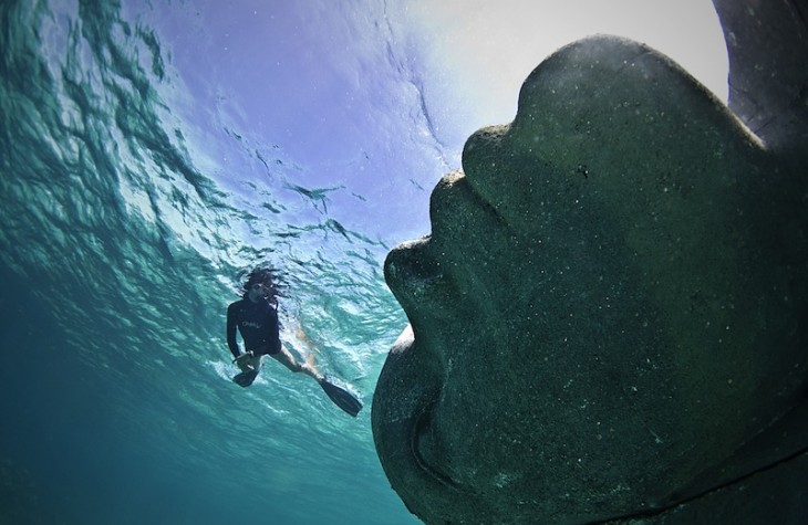 Weighing more than 60 tons, Ocean Atlas by British artist Jason deCaires Taylor was installed last year in Bahaman waters as the largest underwater sculpture to date.