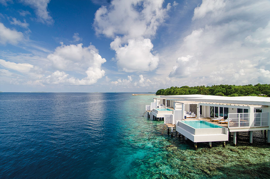 Clean-lined and contemporary, villas at the Amilla Fushi included these one-bedroom Ocean Reef Houses.