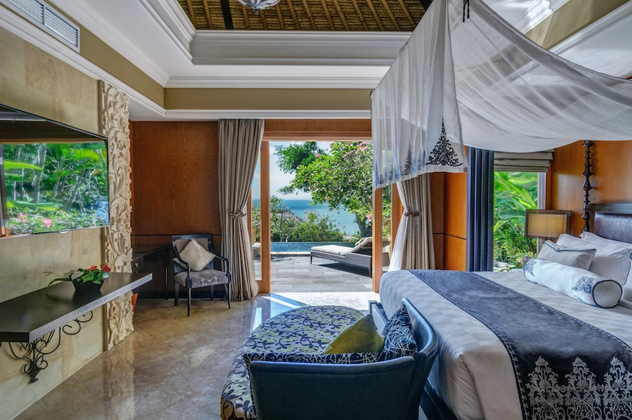 Traditional textiles decorate the villas' new furniture and beds.