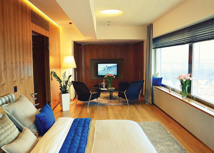 Enjoy wide-ranging views of the capital city from the One Room Prague hotel, located in the country's tallest building.