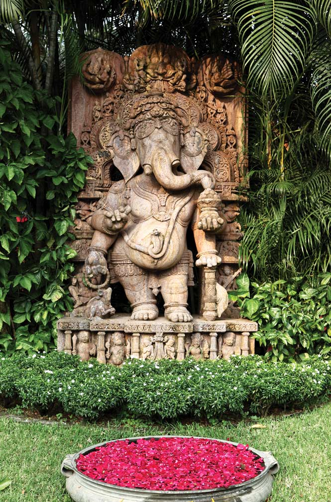 A statue of the elephant-headed god Ganesha on the grounds of the Mayfair Lagoon.