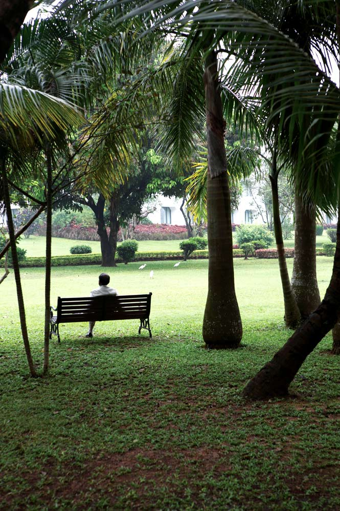 In the gardens of the Trident Hotel in Bhubaneswar.