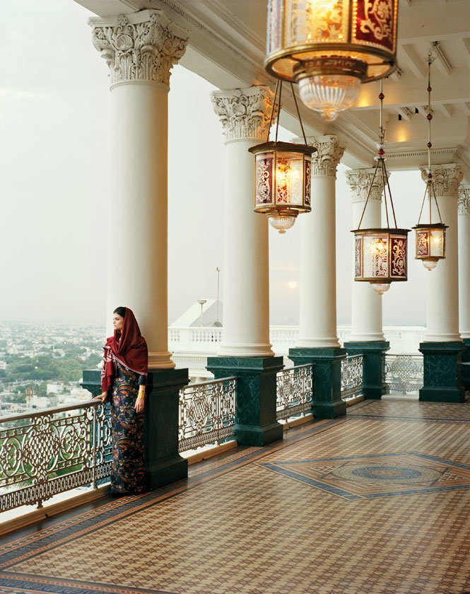Overlooking hyderabad from a terrace at the opulent Taj Falaknuma palace.