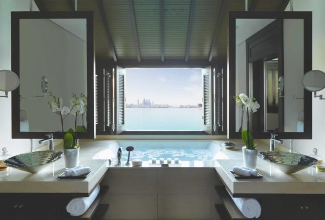 The overwater villa's bathroom