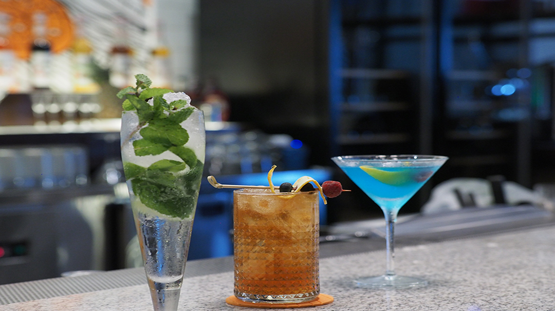 An array of cocktails served from the bar.