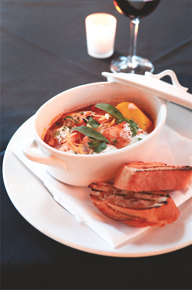 Middleton's seafood bouillabaisse with saffron potatoes and baby vegetables.