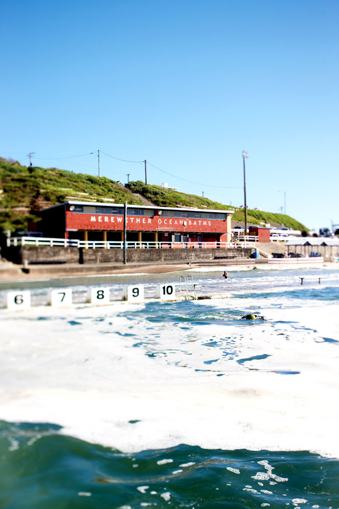 Surf-side swimming at Merewether Ocean Baths.
