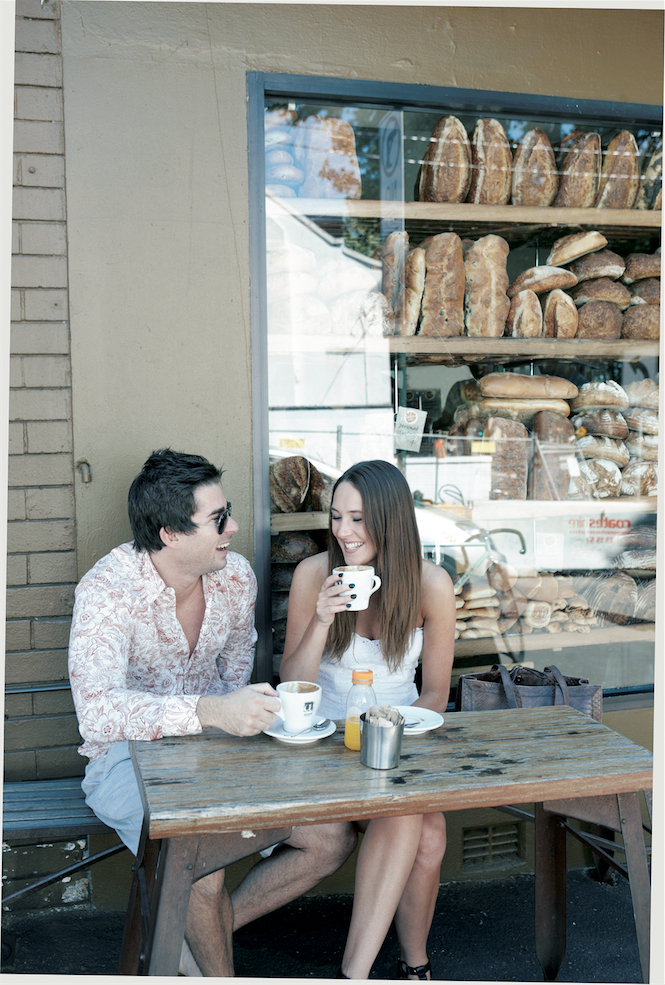 Getting  a Saturday-morning caffeine fix at the Bourke Street Bakery.