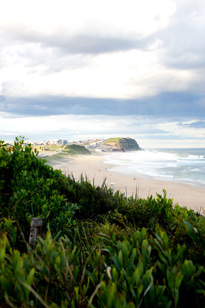 Looking northeast along Merewether Beach.