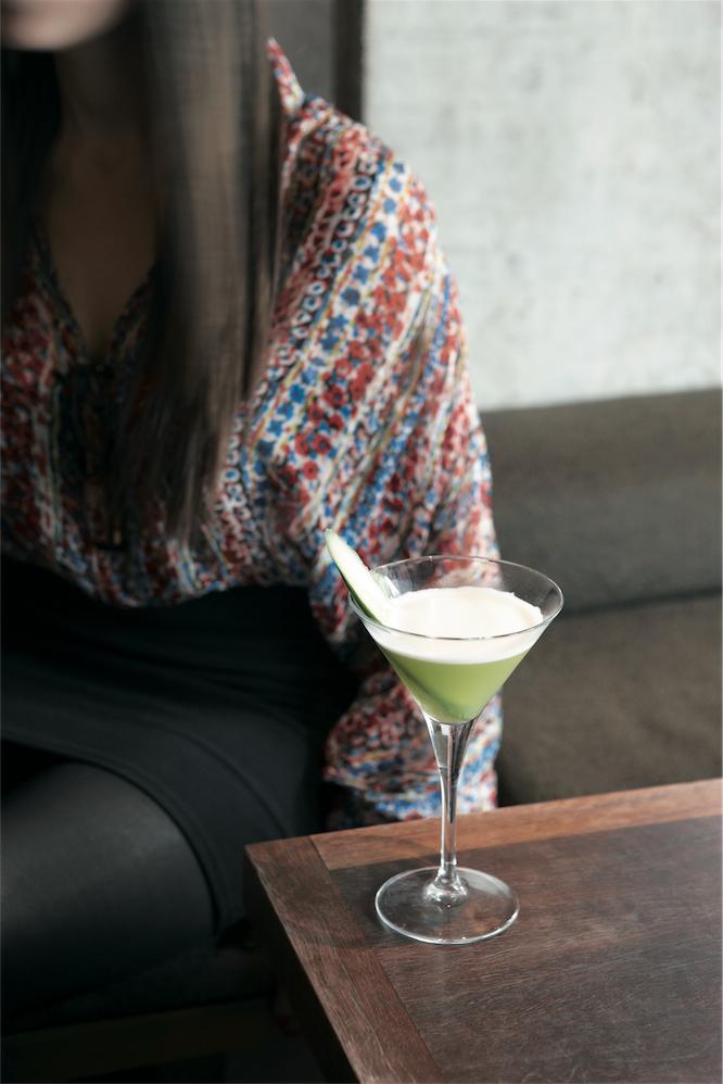 Tokonoma's Hakka martini, made with shochu, gin, cucumber, and mint.