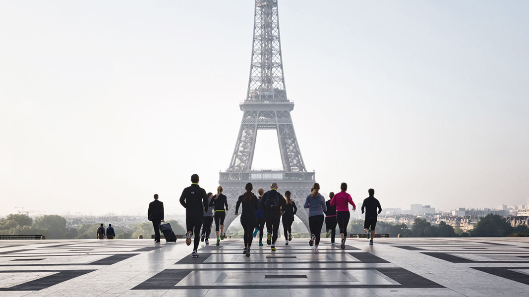 The Eiffel Tower is one of the many sites on the running tour's route.