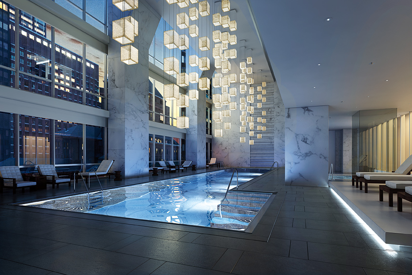 Carnegie Hall curates the music piped into the pool's underwater speakers.