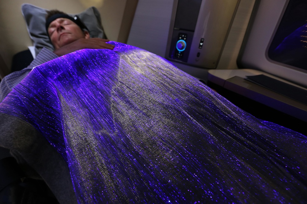 The blanket can read the user's mood and relaxation level.