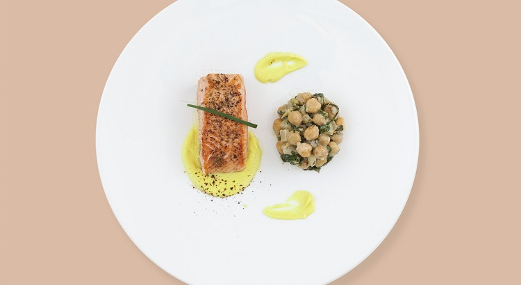 Salmon with fennel, chickpeas, and sumac.