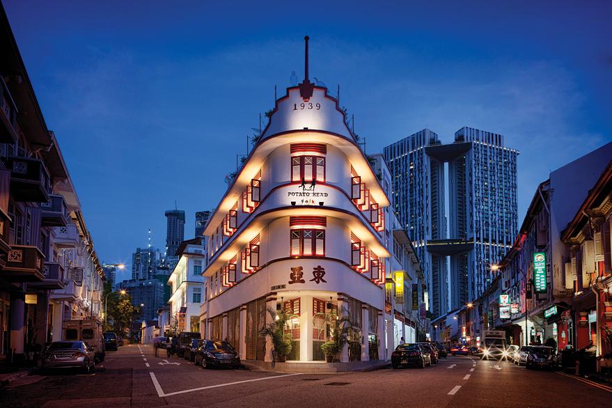 Potato Head Folk's Art Deco corner premises on Singapore's Keong Saik Road.