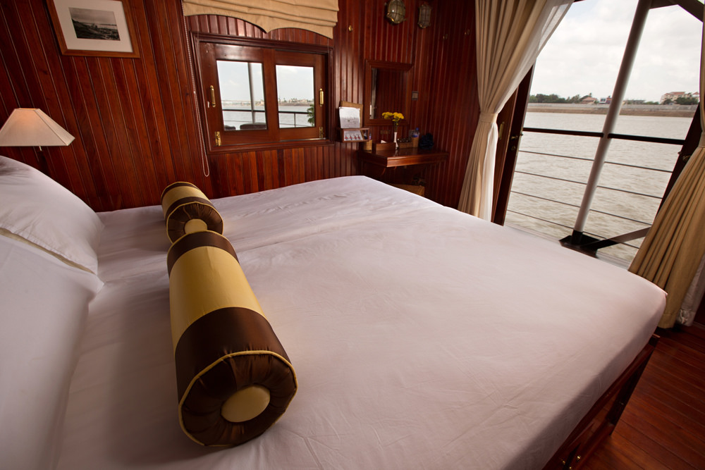A bedroom aboard the boat.