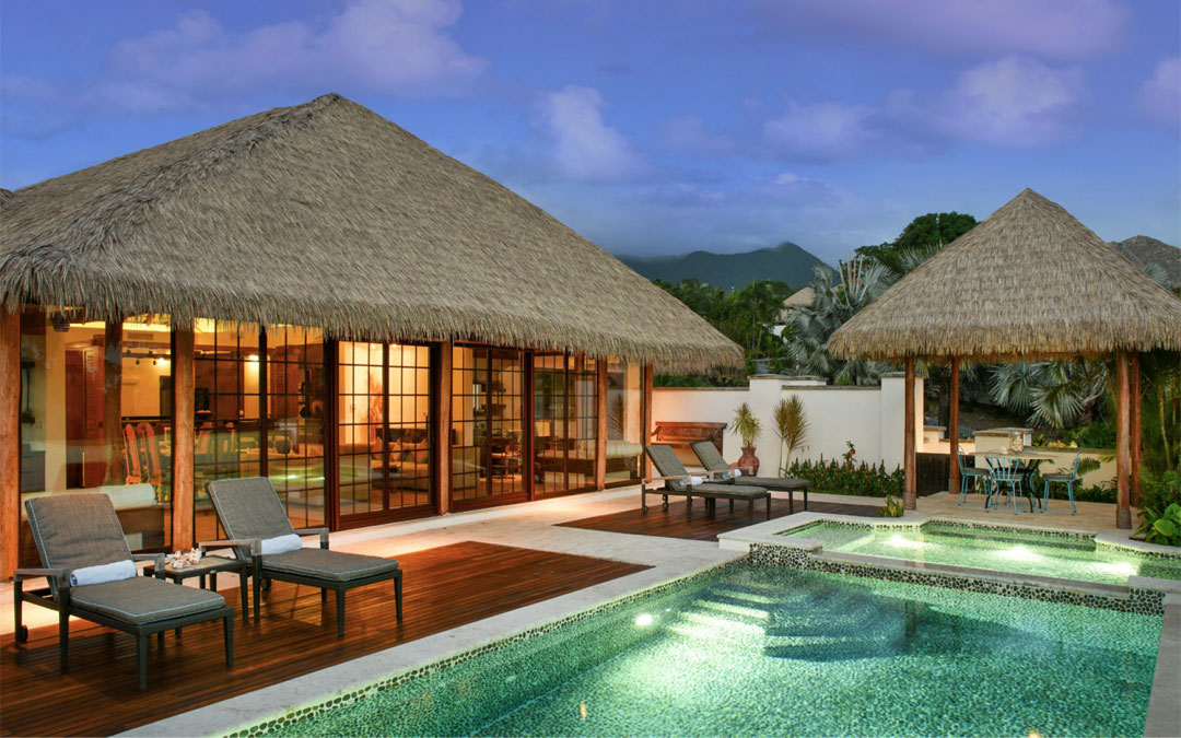 One of seven Balinese-inspired villas at Paradise Beach Nevis.