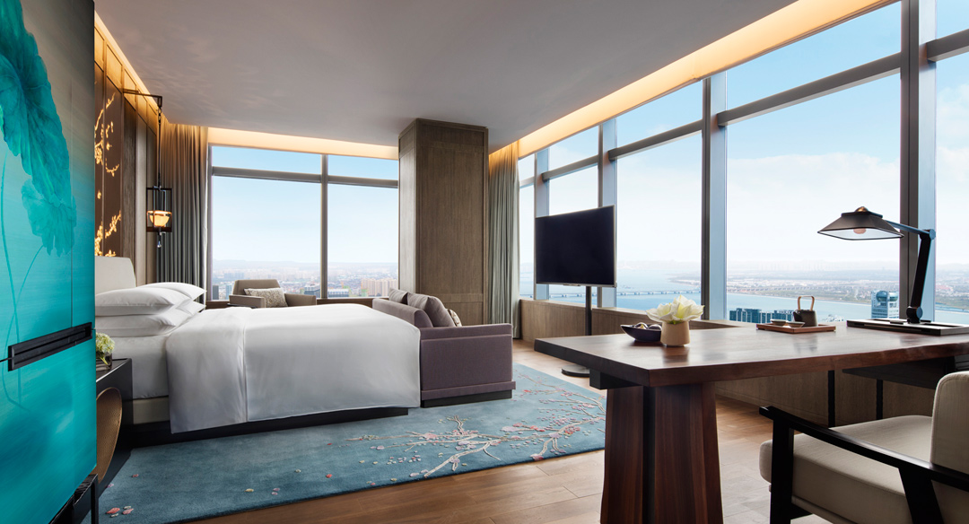 One of the guest rooms at Park Hyatt Hangzhou.
