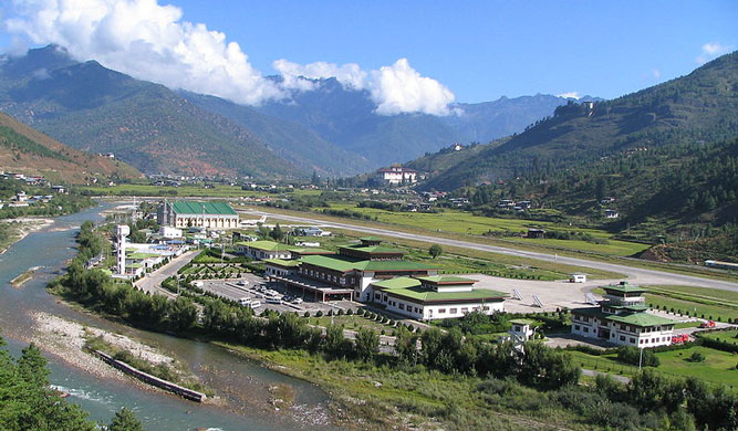 Paro Airport, home of Bhutan national airline Drukair.