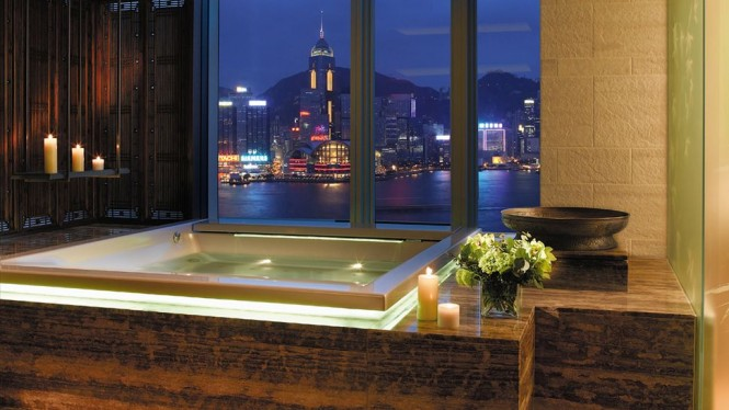 A harbor-view jacuzzi at the Peninsula Hong Kong hotel.