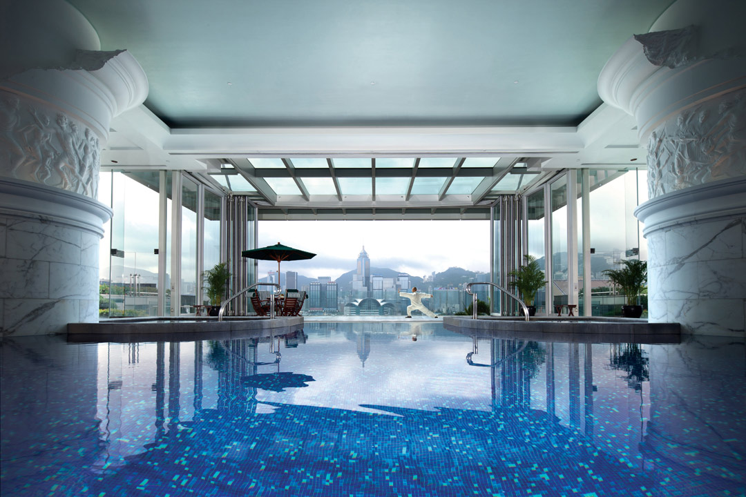 Overlooking Hong Kong's Victoria Harbour from the pool.