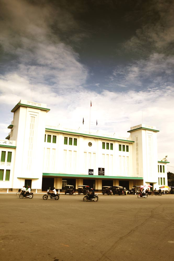 Outside the Phnom Penh Railway Station, built in 1932.