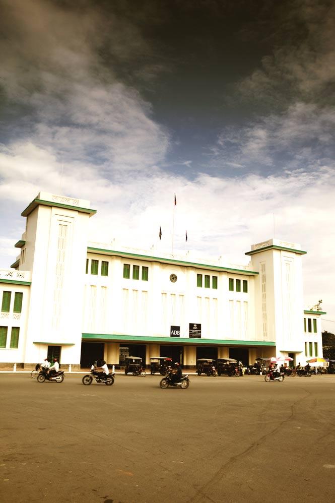 Outside the Phnom Penh Railway Station, built in 1932.