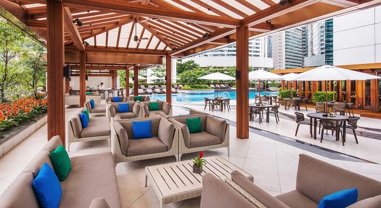 The pool lounge at JW Marriott Hong Kong.