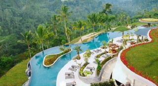 The Padma Ubud Resort's infinity swimming pool offers amazing views of Ubud's jungles.