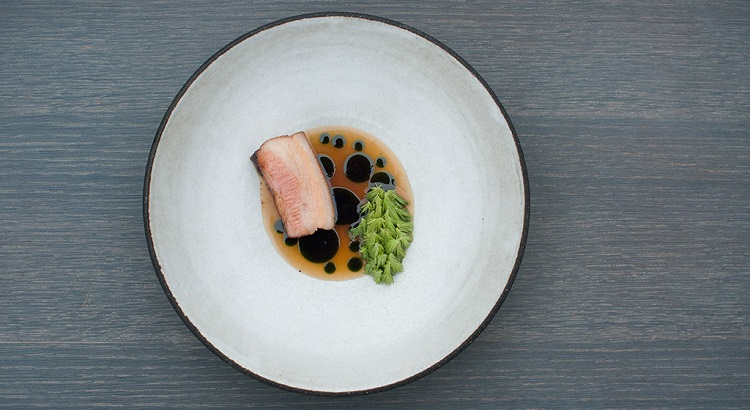 Grilled pork belly with gooseberries and fresh pine.