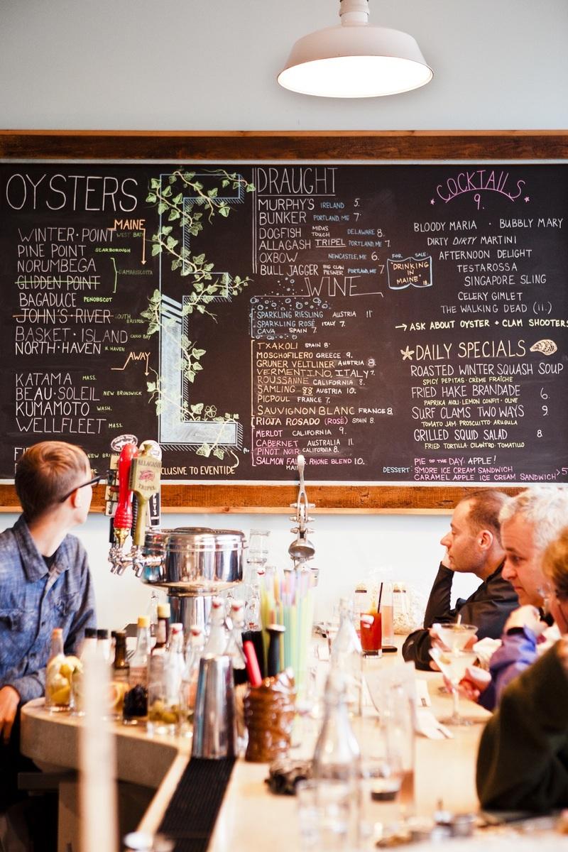 Menu blackboard at Eventide seafood restaurant.