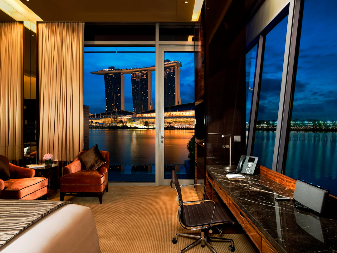 The Premier Bay View Room at The Fullerton Bay Hotel Singapore.