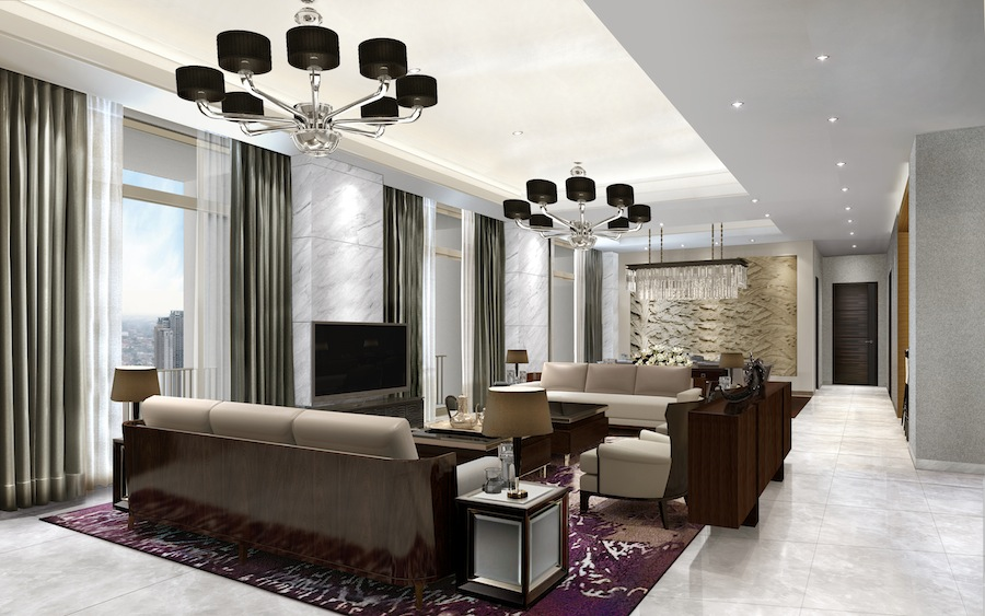 The living room of the Presidential Suite.