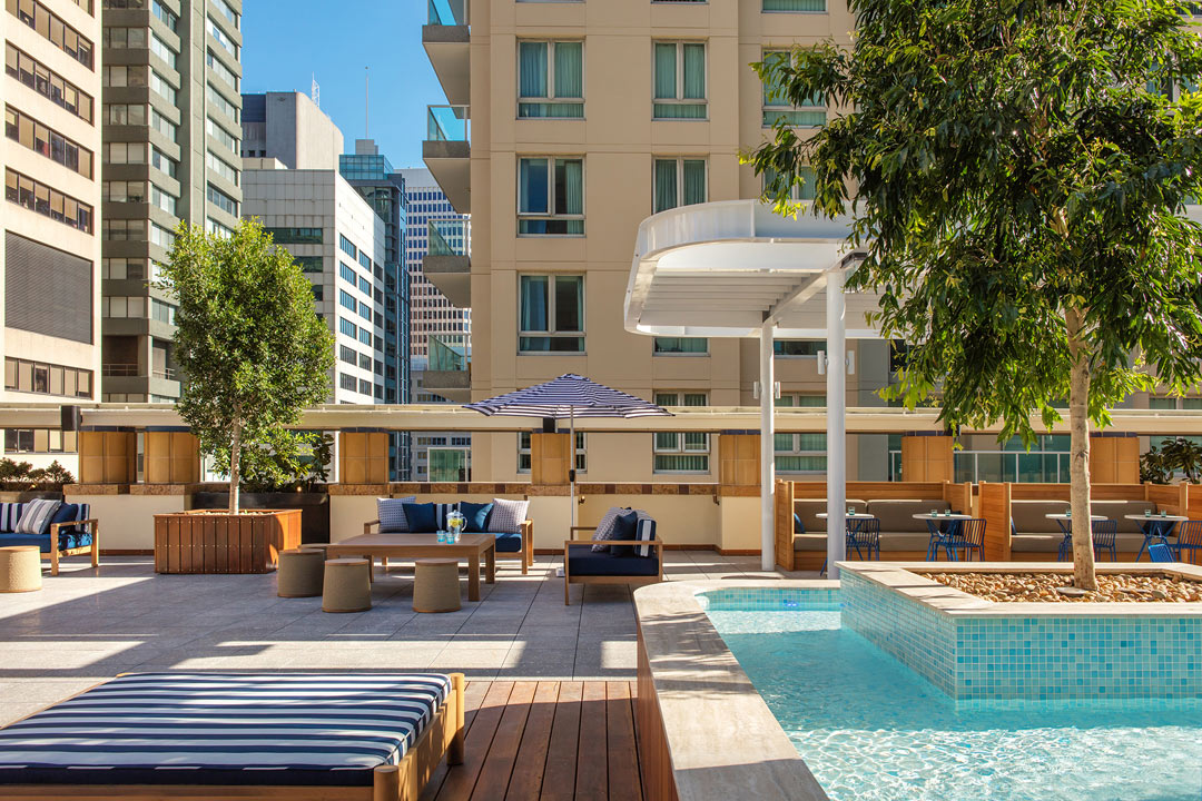 The rooftop pool at Primus Hotel Sydney.