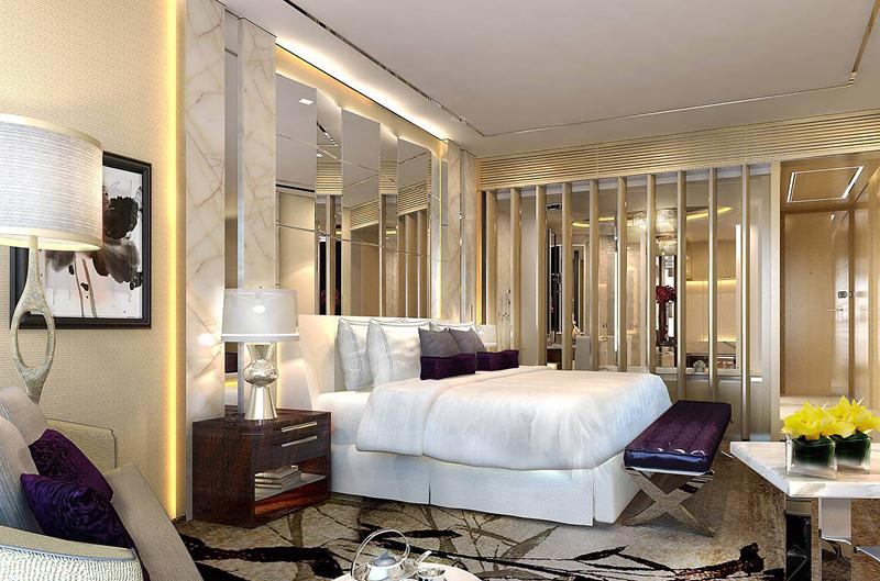 The bedrooms at the Kempinski Hotel Yixing are decked out in soothing, elegantly understated colors.