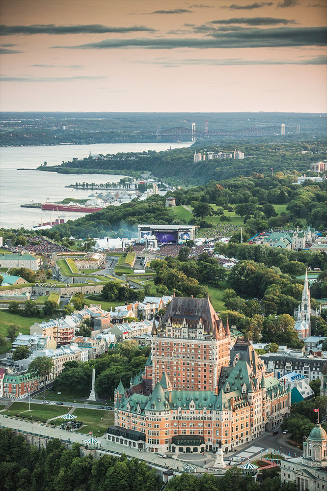 Quebec's Festival d'été from the air.