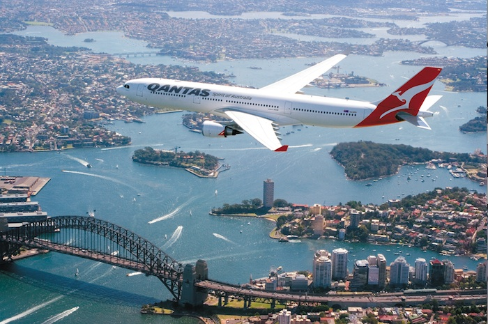 An Airbus A330-300 flying over the Sydney Habour.