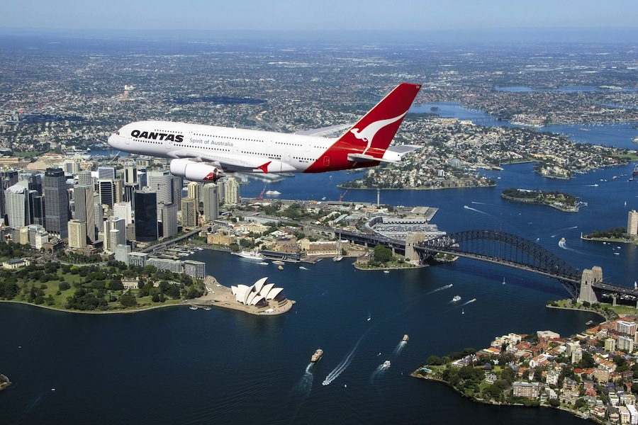 Qantas's A380 over the Sydney Harbor.