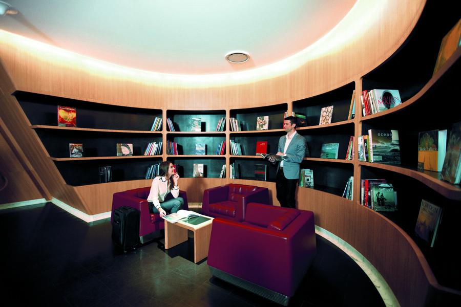 Qantas' First Lounge Library.