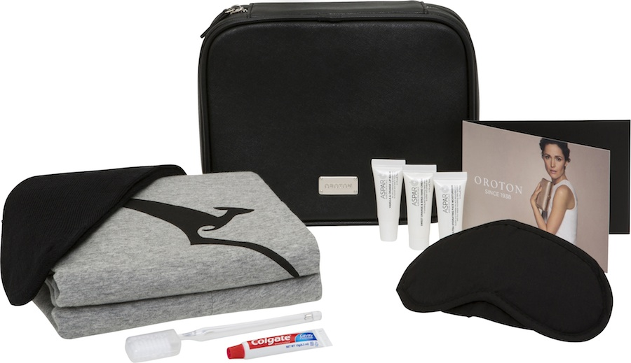 Limited-edition amenity kits come with Qantas' signature business pajamas, eye masks, socks, earplugs, and Aspar products.