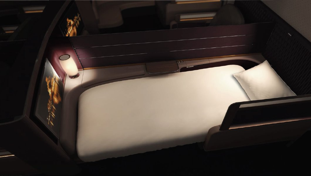 The aircraft comes with a flat-bed first class seat.