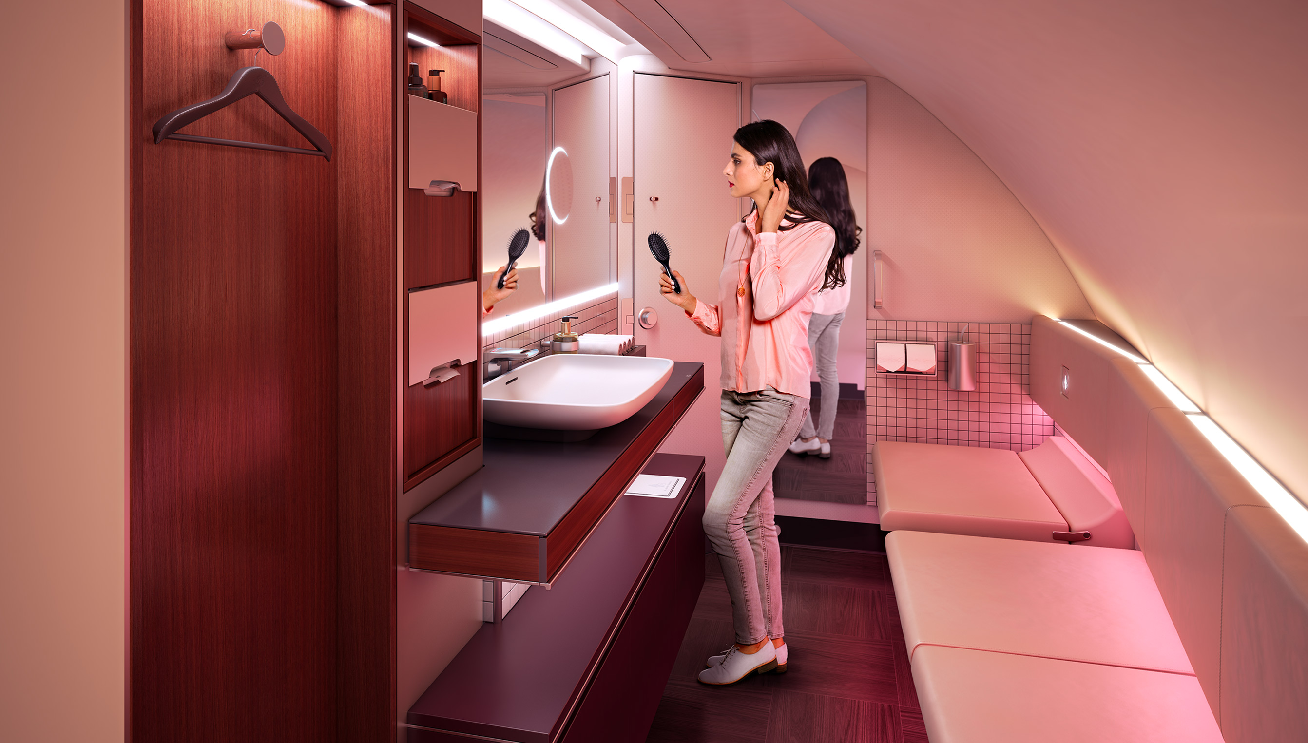 The premium lavatory on the A380.