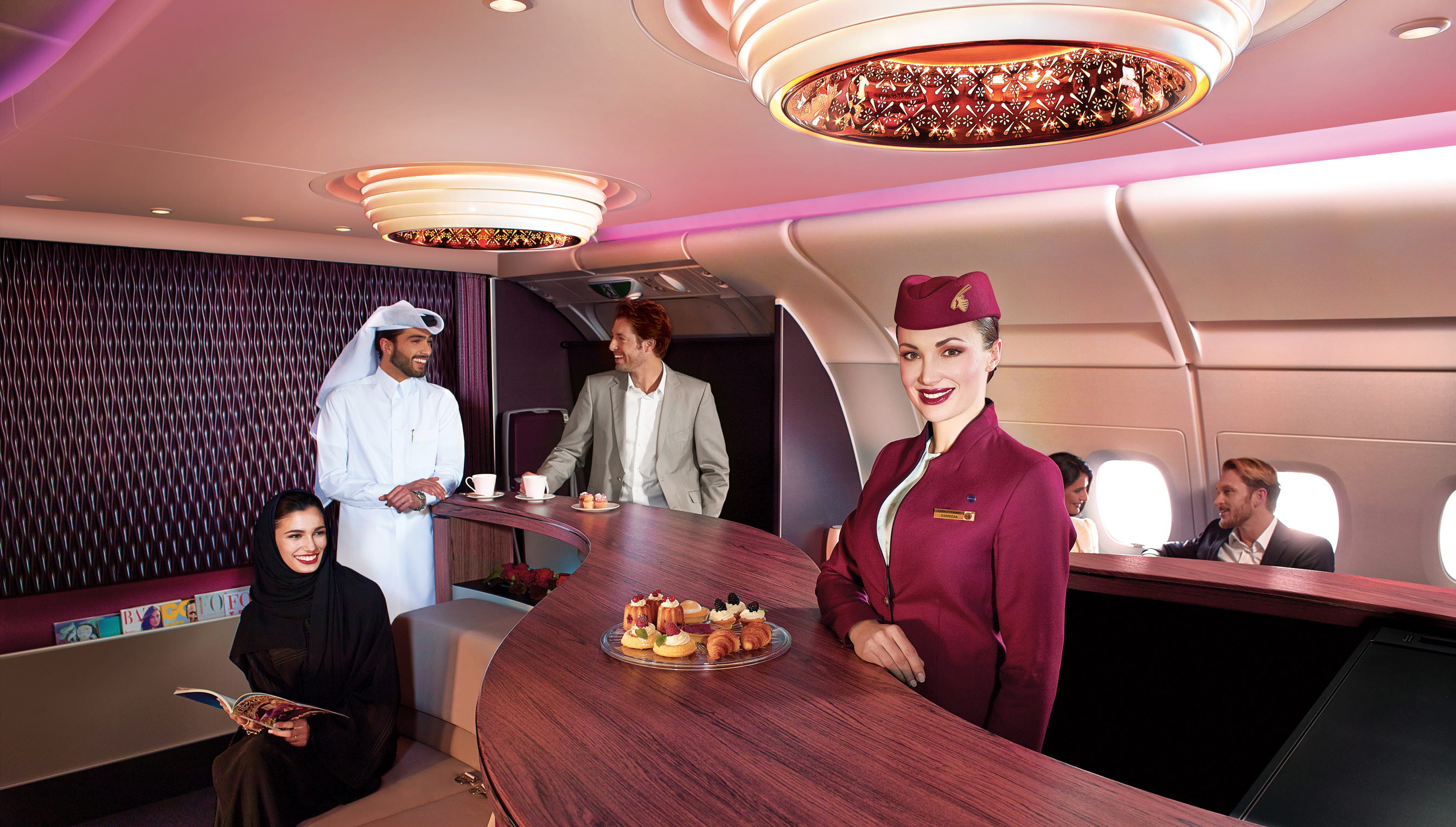 Premium passengers can relax at the aircraft's lounge and bar during flights.