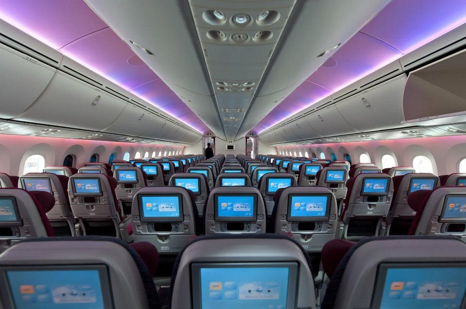 The economy cabin of Qatar's Boeing 787 Dreamliner.
